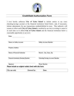 Ach Credit Authorization Form