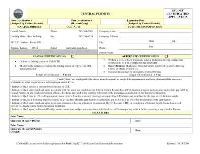 Kansas Escort Certification Form