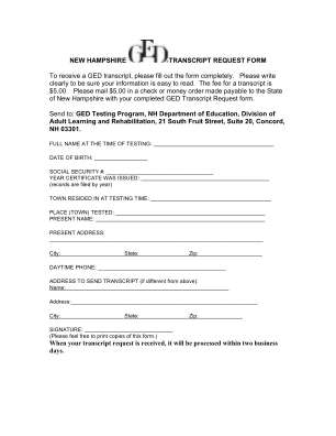 Nh Ged Transcript Request Form