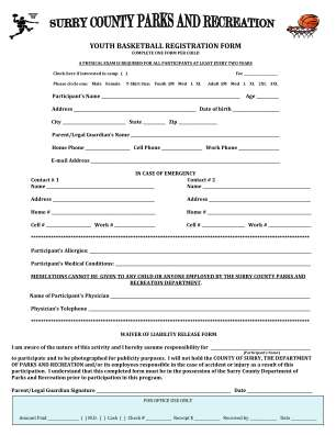 Youth Basketball Registration Form