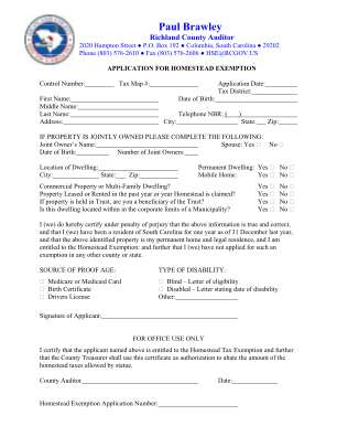 Homestead Exemption Richland County Form