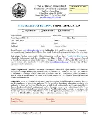 Miscellaneous Building Permit Application Miscellaneous Building Permit Application Hiltonheadislandsc