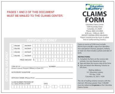 South Carolina Education Lottery Form