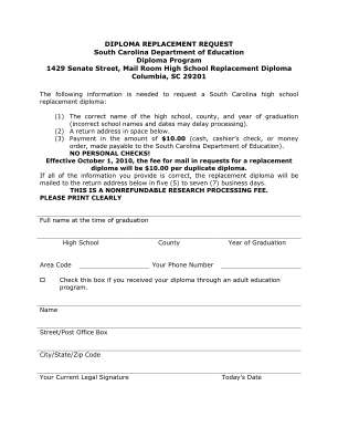 High School Replacement Form