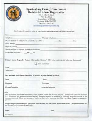 Residential Alarm Users Spartanburg County
