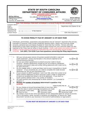 State Of South Carolina Department Of Consumer Affairs Consumer Sc