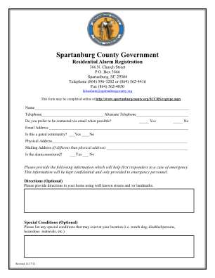 Spartanburg County Government Residential Alarm Registration Spartanburgcounty