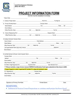 Project Information Form Greenville County Greenvillecounty