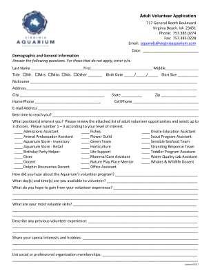 Youth Volunteer Application Virginia Aquarium