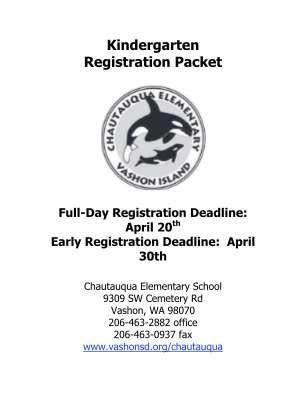 Kindergarten Registration Packet Vashon Island School District Vashonsd