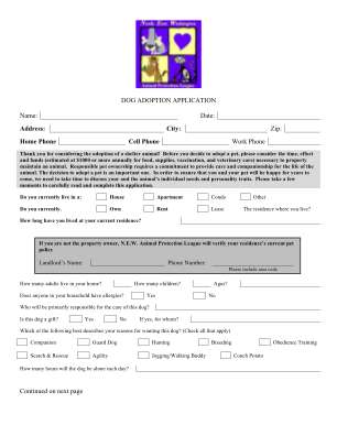 Generic Dog Adoption Application Form