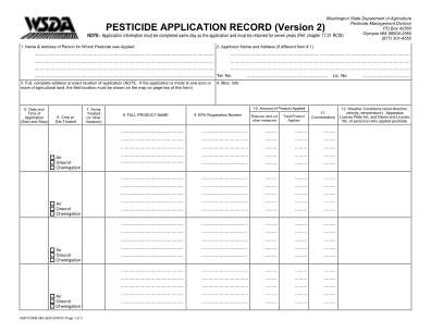 Washington Department Of Agriculture Pesticide Application Record Version 1 Form