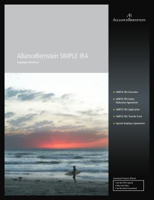 SIMPLE IRA Employee Application & Brochure AllianceBernstein Form
