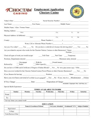 Choctaw Casino Online Application Form