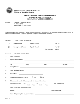 Application For Fire Equipment Permit Florida's Department Of Form