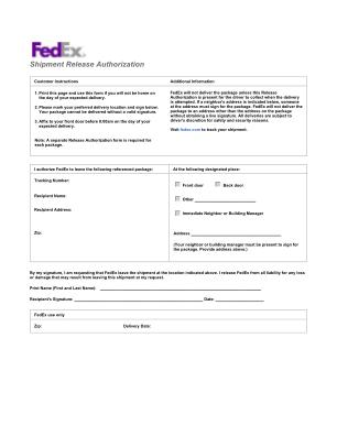 Fedex Door Tag Form