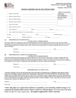 Zoning Certificate Of Use Application Anne Arundel County Aacounty Form