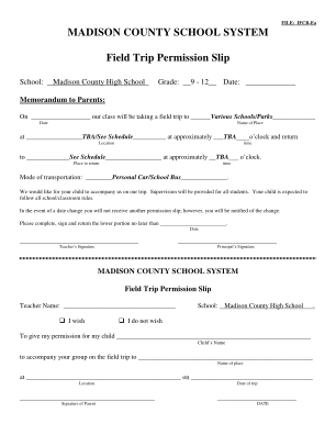 Permission Slip For Field Trip Form