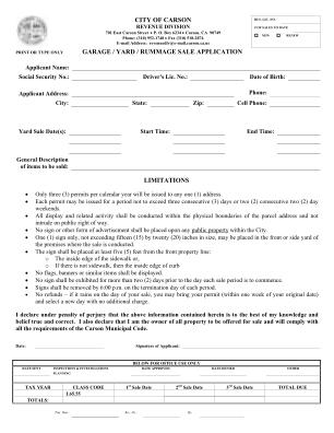 Yard Sale Permit Application City Of Carson Form