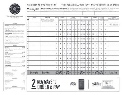 Chipotle Order Form