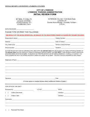 Initial Review Form PDF City Of Lynwood