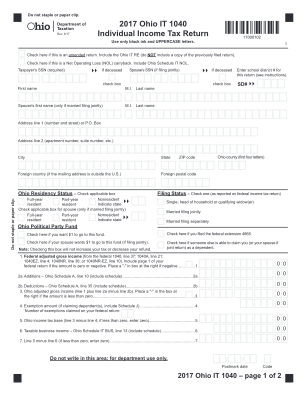 Ohio IT 1040 Individual Income Tax Return Ohio Department Form