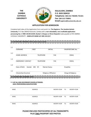 Zambia Catholic University Form