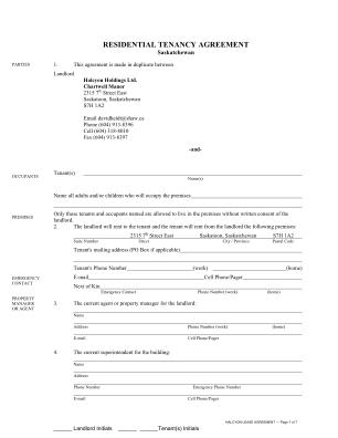 Rental Agreement Saskatchewan Form