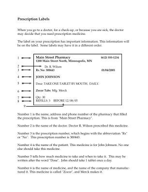 Prescription Label Template Form