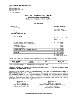 Payoff Letter Template Form