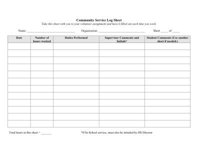 Printable Community Service Form
