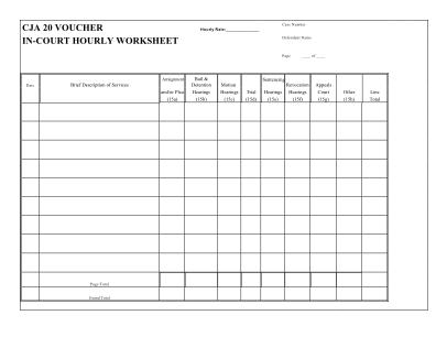In Court Worksheet Form