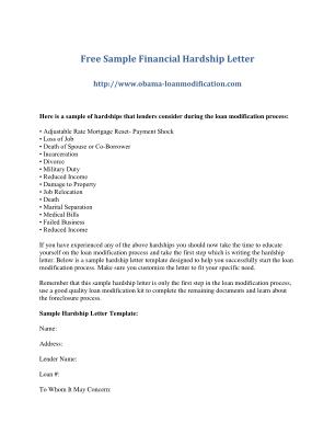 Hardship Letter Form