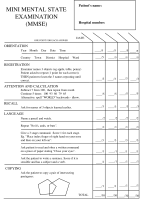 Mini Mental Status Exam Form