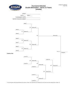 7 Team Double Elimination Bracket Seeded Excel