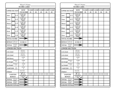 Yahtzee Score Sheets Form