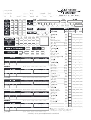 D D 3 5 Character Sheet Form