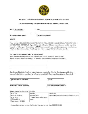 Gold's Gym Cancellation Form