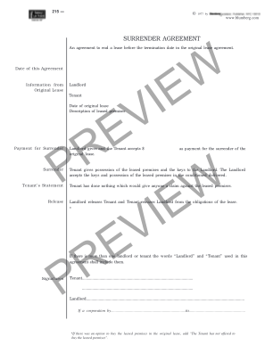 Nyc Legal Surrender Agreement Form