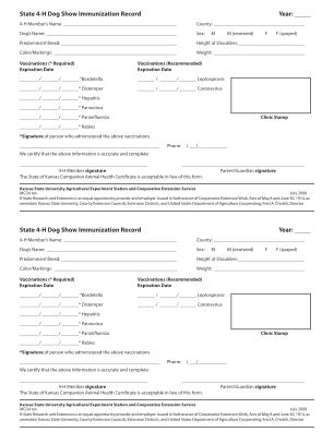 Dog Vaccination Record Printable Pdf Form