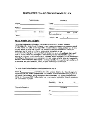 Contractor's Final Release And Waiver Of Lien Form