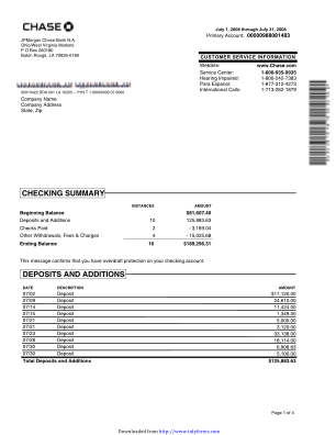 Bank Statement Template Download Forms & Samples For