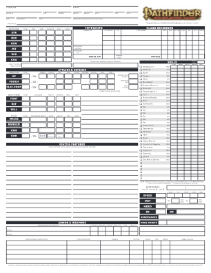 Neceros Pathfinder Character Sheet Form