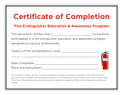 Fire Extinguisher Certificate Template Form