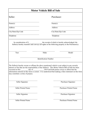 Bill Of Sale Template Form