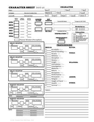 D D 5e Character Sheet Fillable Online Form