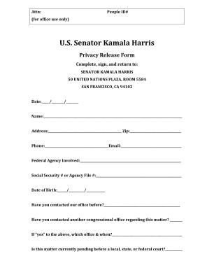 Kamala Harris Privacy Release Form