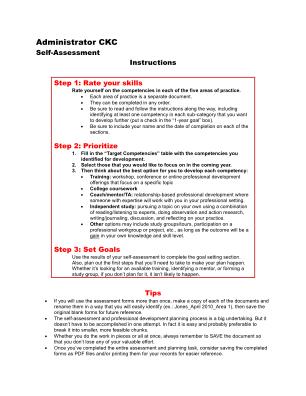 Administrator Ckc Self Assessment Form