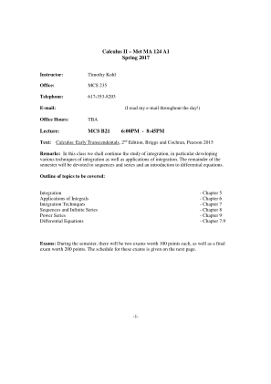 Calculus II Met MA 124 A1 Form