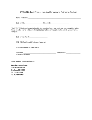 PPD TB Test Form Required For Entry To Colorado College